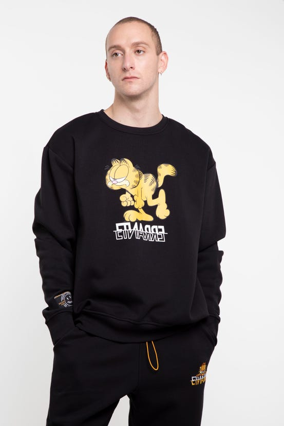 Poleron Garfield Crew Neck Grumpy Negro Errante Unisex